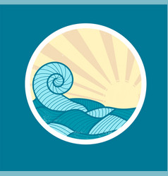 Badge with sea wave and sun vector