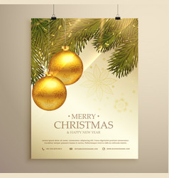 beautiful christmas festival flyer template with vector image