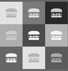 burger simple sign grayscale version of vector image
