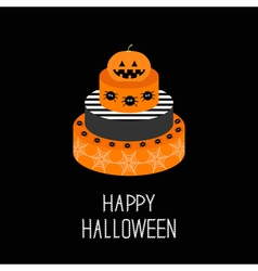Cake with pumpkin spider and web happy halloween vector