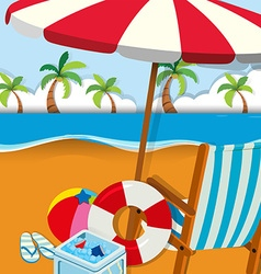 Chair and umbrella on the beach vector