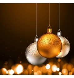 Christmas balls on dark background vector image vector image