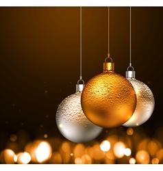 Christmas balls on dark background vector
