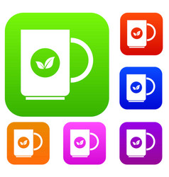 cup of tea set collection vector image vector image