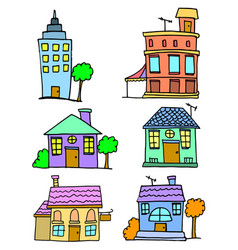 Doodle of house set collection stock vector