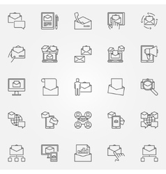 Email marketing line icons vector