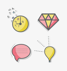 Flat line chat bubble diamond time and bulb icon vector