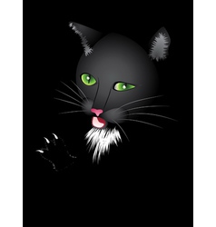 Funny cartoon black cat vector