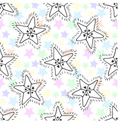 Hand drawn stars seamless pattern kids background vector