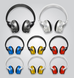 headphones set color vector image vector image