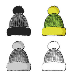 knit cap icon in cartoon style isolated on white vector image