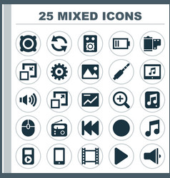Media icons set collection of zoom in tuner vector