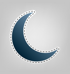 Moon sign blue icon with vector