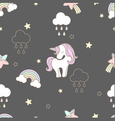 Pattern sweets unicorn seamless cute vector