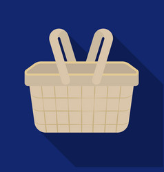 Picnic basket icon in flat style isolated on white vector