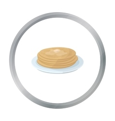 Russian pancakes icon in cartoon style isolated on vector image
