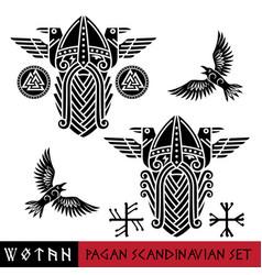 Scandinavian pagan set - god wotan and two ravens vector
