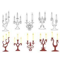 Set of black and brown candelabras vector