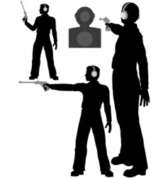 silhouette man shoots target vector image
