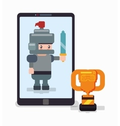Smartphone knight trophy online game vector