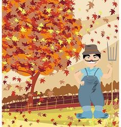 Smiling redneck in autumn landscape vector