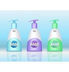 Soap bottles set with spreader cosmetic product vector