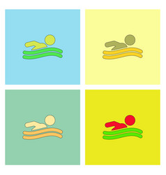 Swimming icon sign set vector