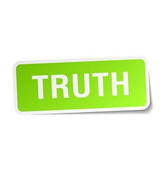 Truth green square sticker on white background vector