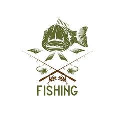 Vintage funny fishing design template vector