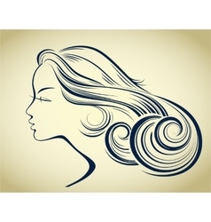 Woman hair style silhouette female fashion vector