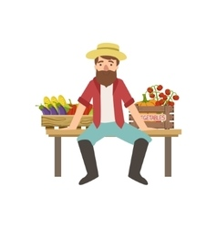 Bearded farmer sitting on the bench with crates of vector
