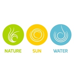 Nature Sun and Water elements flat icons vector image