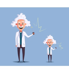 Crazy old scientist Funny character Cartoon vector image