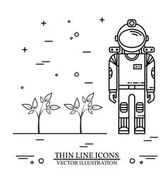 Astronaut grow plants on Mars vector image