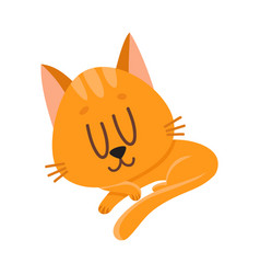 Cute and funny red cat character sleeping vector