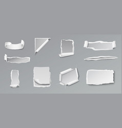 Blank torn paper set vector