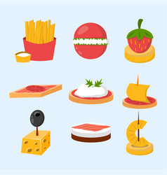 Various meat fish cheese banquet snacks on banquet vector