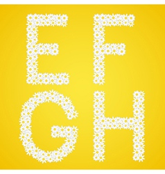 Letters efgh composed from daisy flowers complete vector