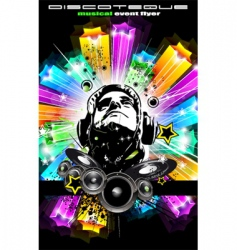 Disco flyer for music event vector