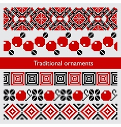 Traditional pixel seamless ornaments embroidery vector
