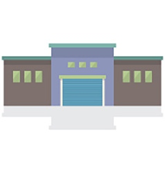 Single factory building on white background vector