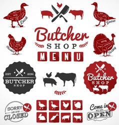 Butcher shop design elements labels and badges vector