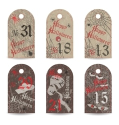 Set of vintage labels numbered for halloween party vector