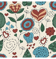 Seamless valentines day floral pattern vector