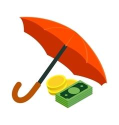 Golden coins and banknotes under umbrella icon vector