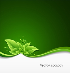 Green leaf ecology on green background vector