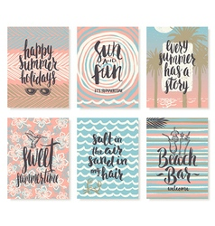 Set of hand drawn summer vacation calligraphy vector
