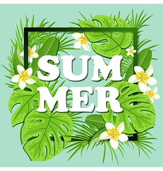 Summer floral frame with tropical plants vector
