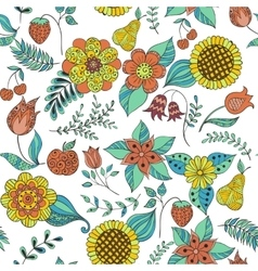 Colorful floral doodle seamless pattern vector