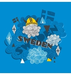 Creative background with swedish symbols vector